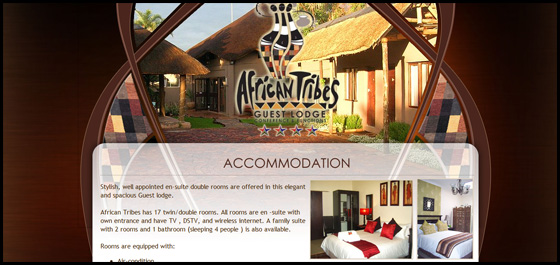 African Tribes Guest Lodge, accommodation page