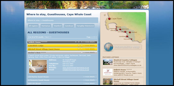 Cape Whale Coast listings