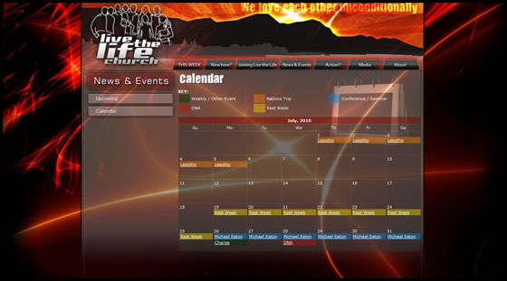 Live the Life Church - Full calendar view