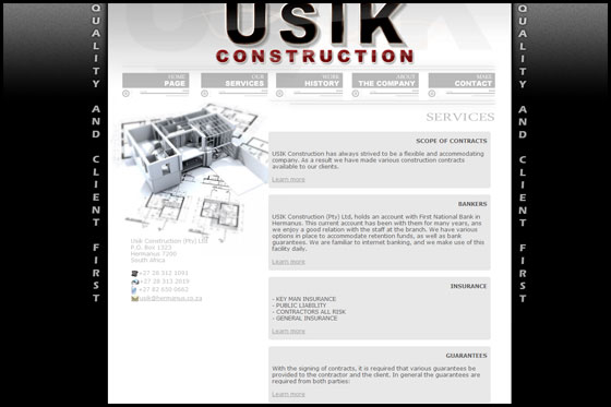 Usik Construction - Services page