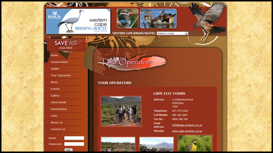 Western Cape Birding, Tour operator page