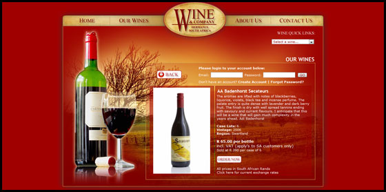 Wine and Company, Full wine details page